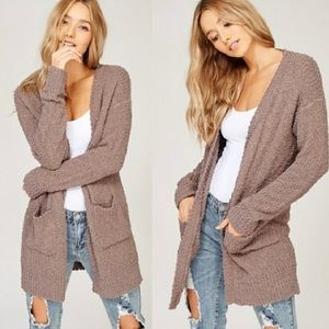 Listicle Cardigan Sweater Brown Popcorn Knit Med